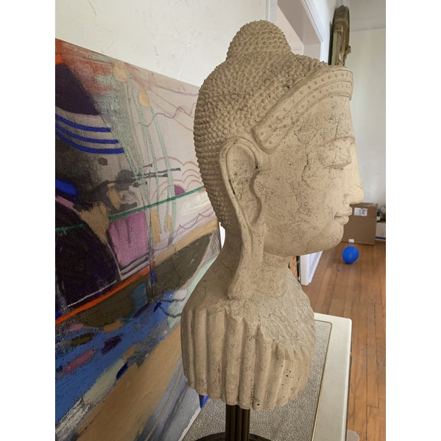 Bronze Mid 20th Century Calming Tibetan Stone Bust on Bronze Stand For Sale - Image 8 of 10
