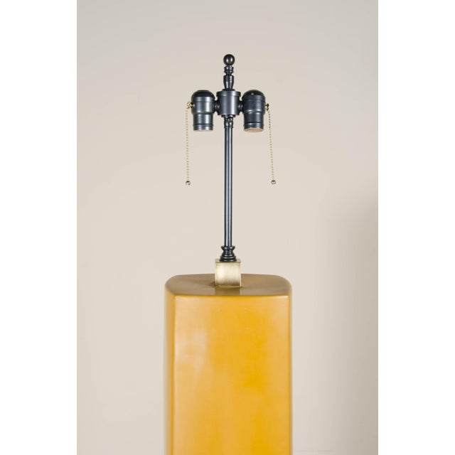 Robert Kuo Fang Bei Floor Lamp - Ochre Lacquer by Robert Kuo, Hand Made, Silk Shade, Limited Edition For Sale - Image 4 of 5
