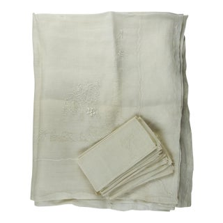 Embroidered Linen Tablecloth & Napkins - Set of 13 For Sale