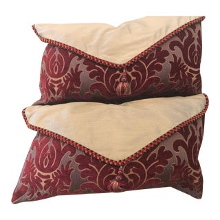 Velvet Silk Pillows Red/Gold Pillows - a Pair For Sale