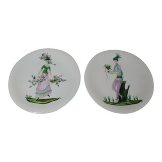 Jeannine Hetreau Hand Painted Primavera French Plates Set of 2 For Sale
