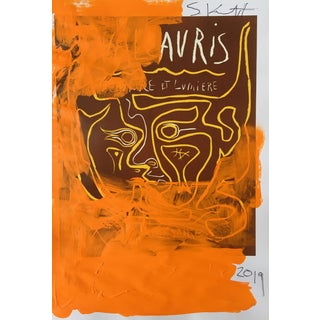 Abstract Framed Picasso Poster Painting by Sean Kratzert 'Orange Man' For Sale