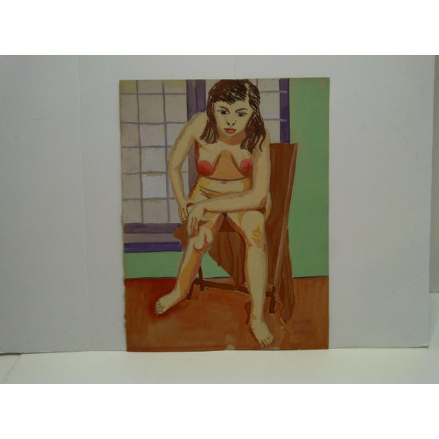 """1947 Mid-Century Modern Original Painting on Paper, """"Hunched Down Nude"""" by Tom Sturges Jr For Sale In Pittsburgh - Image 6 of 6"""