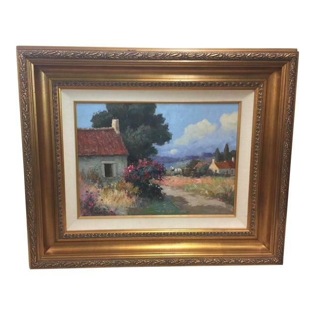 Stojan Milanov Oil Painting Impressionistic Village Scene For Sale