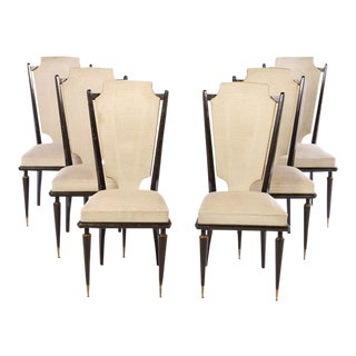 Set of 6 Mahogany French Dining Chairs in the Style of Andre Arbus For Sale