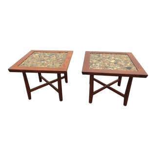 1960s Danish Modern Arvid Haerem for Sola Mobelfabrikk Rosewood and River Stone Tables - a Pair For Sale