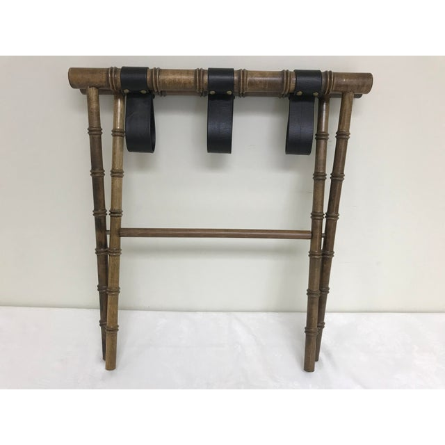 1960s Regency Faux Bamboo Leather Strap Folding Luggage Rack Stand For Sale - Image 9 of 10