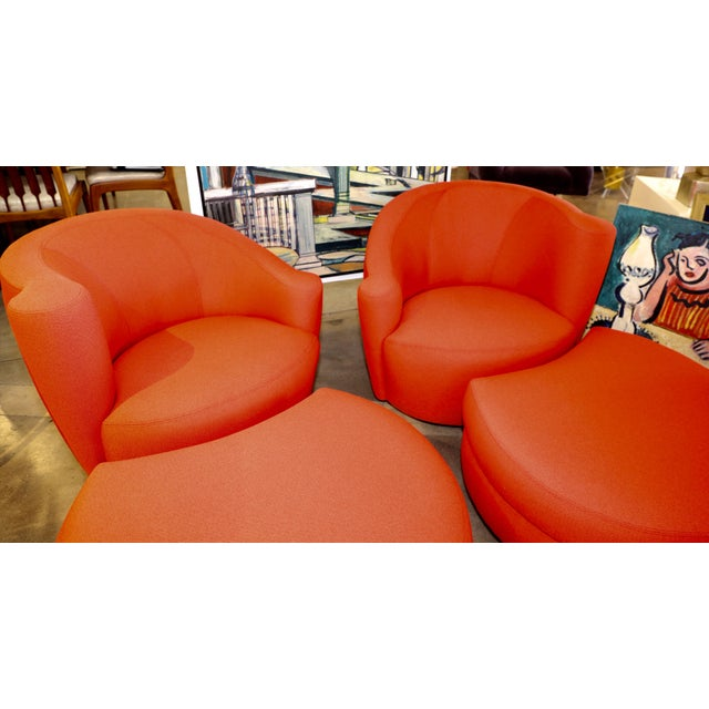 Vladimir Kagan for Weiman Chairs With Large Ottomans With Labels- A Pair For Sale In Palm Springs - Image 6 of 12
