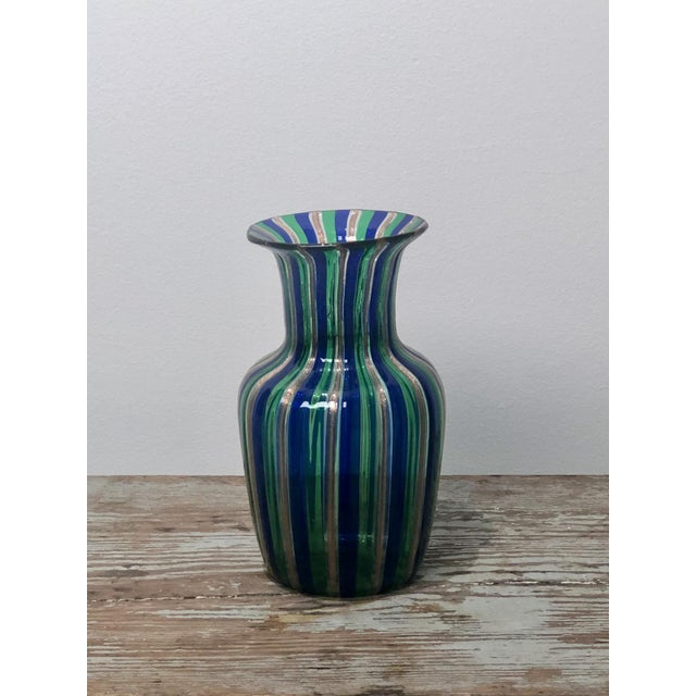 Italian Murano Green and Blue Striped Vase, Italy Circa 1950 For Sale - Image 3 of 5