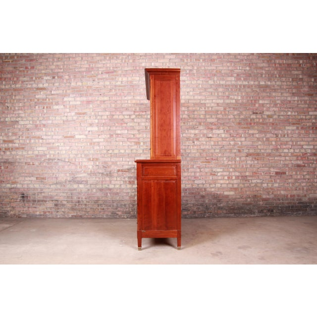 French Provincial Solid Cherry Breakfront Bookcase or Bar Cabinet by Grange For Sale - Image 10 of 13