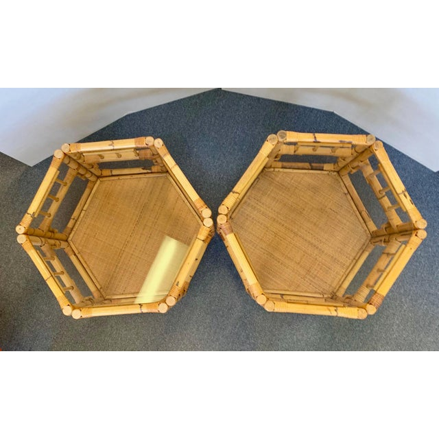 1960s Boho Chic Octagonal Rattan and Bamboo End Tables With Glass Tops - a Pair For Sale - Image 4 of 12