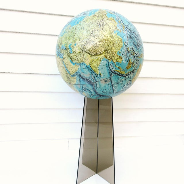 Large Replogle World Globe is a huge National Geographic collectible physical globe. Mid century modern globe comes with a...