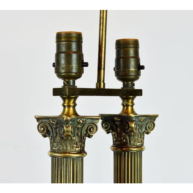 Late 19th Century Classic Bronze and Marble Twin Corinthian Column Desk Lamp For Sale - Image 5 of 11