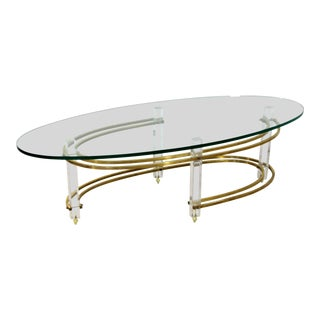 Mid Century Modern Brass Lucite Surfboard Coffee Table Hollis Jones 1970s For Sale