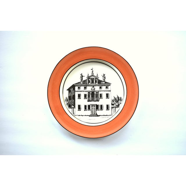 Mottahedeh Vintage Italian Mottahedeh Creil Creamware Neoclassical Palazzo Architecture Small Plates With Coral Border - Set of 4 For Sale - Image 4 of 11