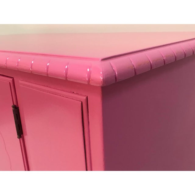 Vintage Pink Painted 1940s Chippendale Revival Claw and Ball Foot Cabriole Legs Server Console Mahogany For Sale - Image 6 of 11