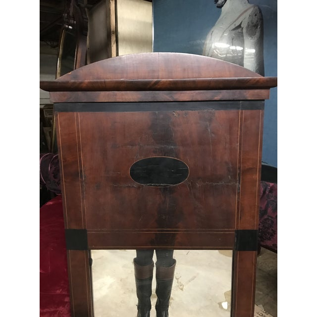 Mid 19th Century Biedermeier inlaid mirror. Antique yet sturdy. With a reddish stain.