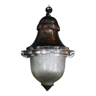 Impressive French Pendant Lantern with original holophane glass