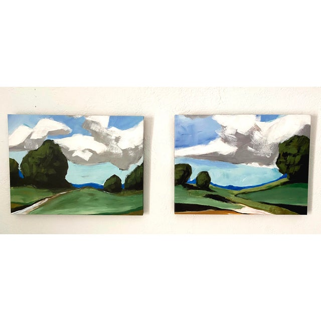 Summer Landscape reproduction prints of a hand painted summer scene on canvas wall art, set of 2. Perfect for anyone...