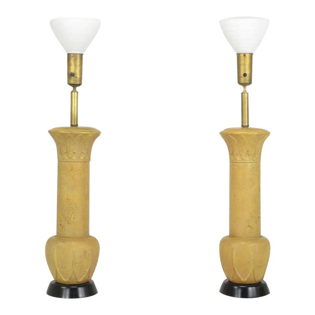 "Pair 51"" Terra Cotta Table Lamps With Acanthus Leaf Detail - Image 1 of 6"