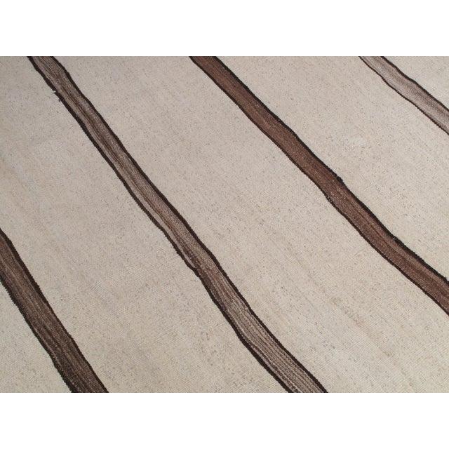 Tan Banded Kilim Wide Runner For Sale - Image 8 of 8