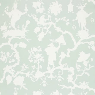 Schumacher Shantung Silhouette Print Wallpaper in Mineral For Sale