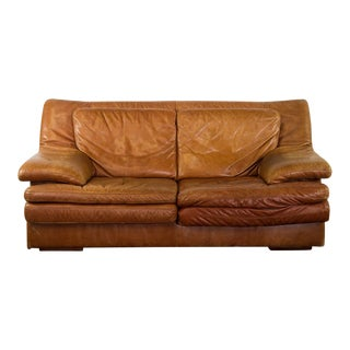 1970 Natuzzi Salotti Brown Leather Loveseat Sofa