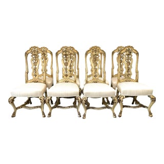 Antique Florentine Carved Dining Chairs-Set of 8 For Sale