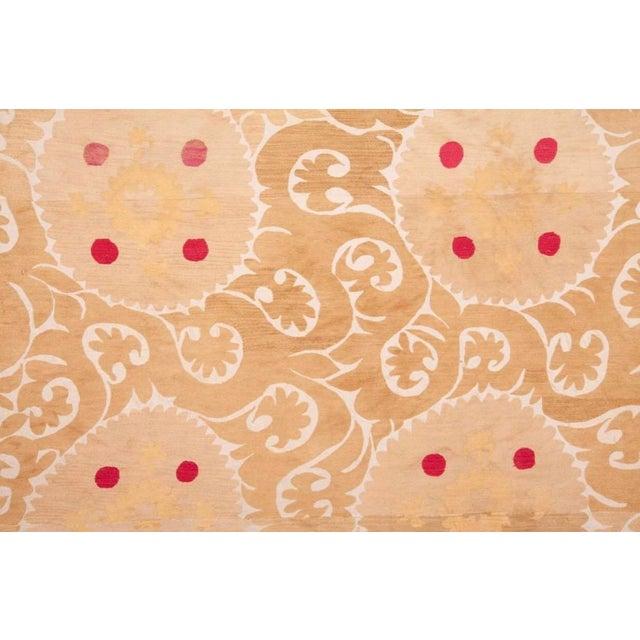 Mid 20th Century Samarkand Suzani Neutral Textile Rug Uzbek For Sale