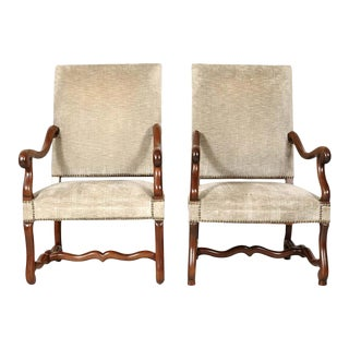 Pair of French Louis XIII Style Os De Mouton Armchairs For Sale