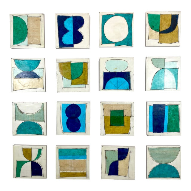 """""""Elsewhere"""" Original Encaustic Collage Installation by Gina Cochran - Blue and Teal - 16 Panels For Sale"""