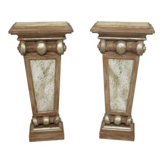 1990s Vintage Italain Style Pedestal Wall Tables- A Pair For Sale