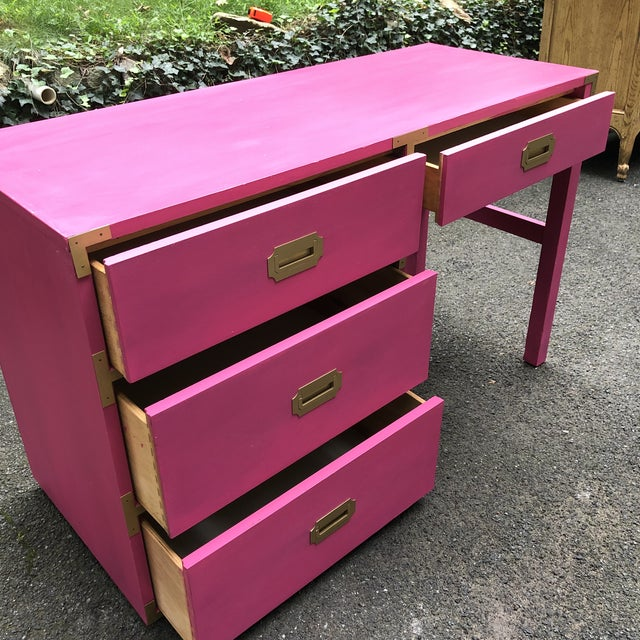 Campaign Style Hot Pink and Brass Single Pedestal Desk For Sale - Image 4 of 7