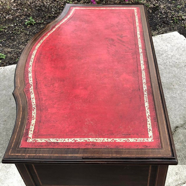 Writing Table, Edwardian Period English in Mahogany With Leather Top For Sale - Image 10 of 12