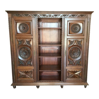 French Chestnut Bookcase/Armoire For Sale