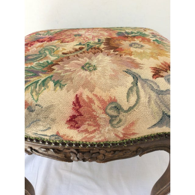 Antique French Tapestry Stool For Sale - Image 4 of 10