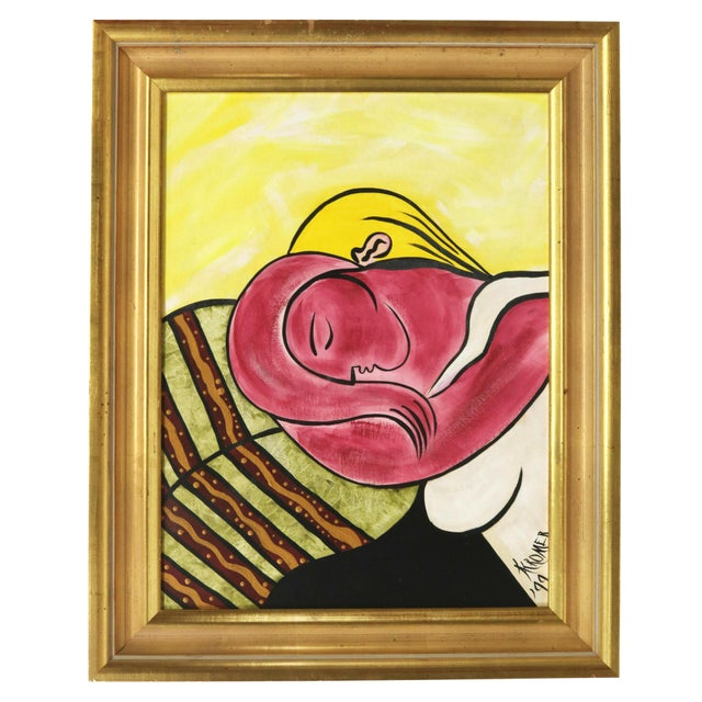 After Picasso Woman With Yellow Hair Acrylic Painting, Framed For Sale - Image 13 of 13