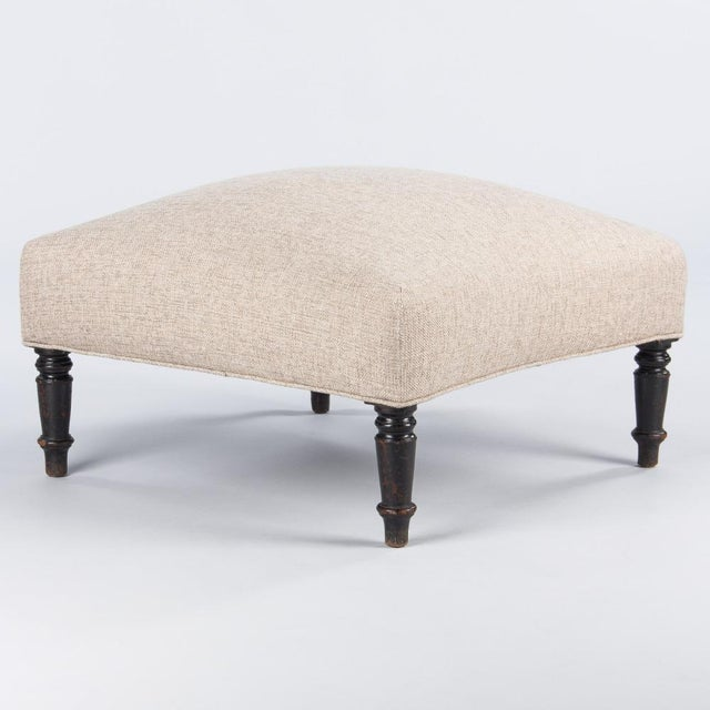 A large and comfortable square Napoleon III Period Ottoman with turned legs in ebonized pearwood. The perfect foot rest or...