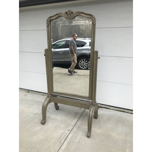 Glass 1970s Neoclassical Style Cheval Mirror For Sale - Image 7 of 7
