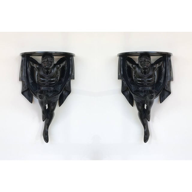 Pair of Polychrome Venetian Black Lacquered Blackamoor Wall Brackets For Sale - Image 10 of 10