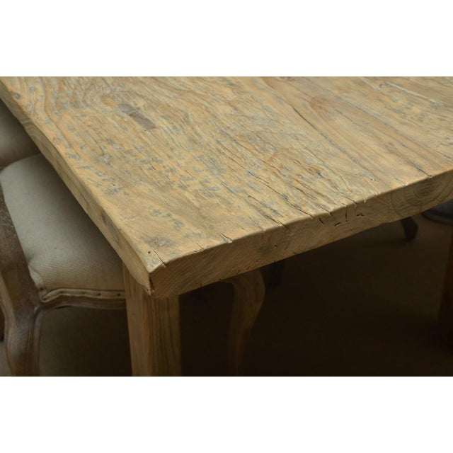 Country Antique Elm Country Dining Table with Ten Chairs For Sale - Image 3 of 8