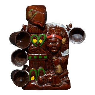Native American Style Figure and Totem Pole Decanter & Glasses - Set of 5 For Sale