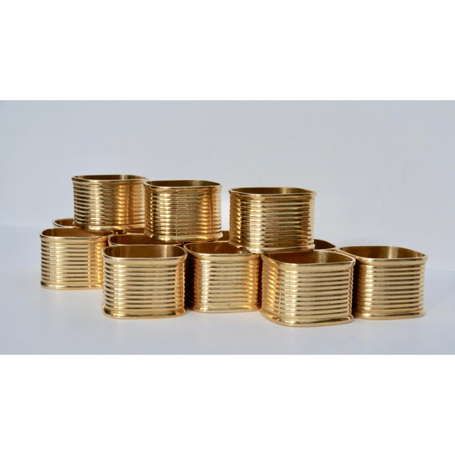 Brass Napkin Rings - Set of 12 For Sale - Image 4 of 6