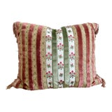 Image of Traditional Chintz & Velvet Pillow With Fringed Edge and Velvet Backing For Sale