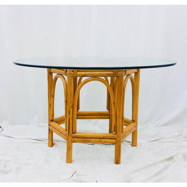 Ficks Reed Vintage Bent Rattan & Glass Table For Sale - Image 4 of 12