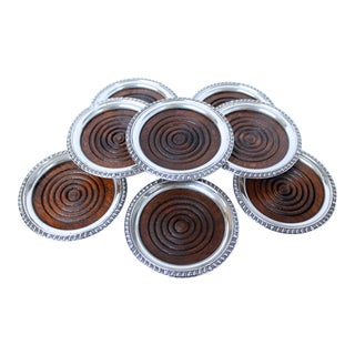 Sterling Silver and Mahogany Coasters - Set of 8 For Sale