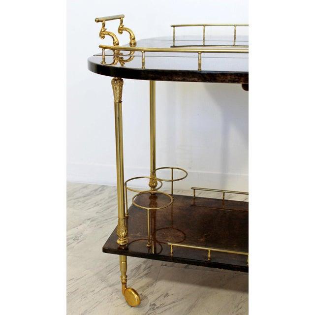 Gold 1950s Hollywood Regency Aldo Tura Goatskin Lacquered Brass Bar Cart For Sale - Image 8 of 10