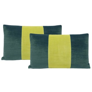 "12""x18"" Aegean and Citrine Strie Velvet Lumbar Pillows - a Pair For Sale"