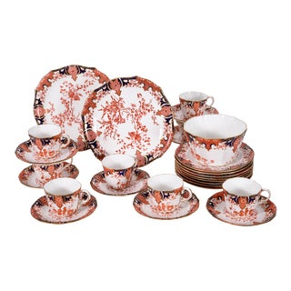 Antique English Royal Crown Derby Porcelain Luncheon Set - 27 Piece Set For Sale