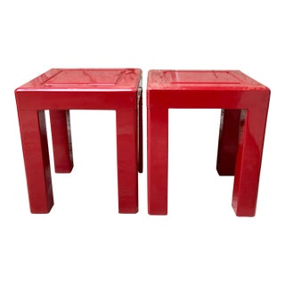 1970s Red Lacquer Side Tables - a Pair For Sale